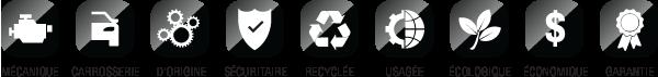 Mécanique, Carrosserie, D'Origine, Sécuritaire, Recyclée,                     Usagée, Écologique, Économique, Garantie